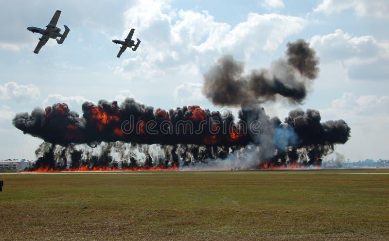 flyg- beskjutning arkivfoton