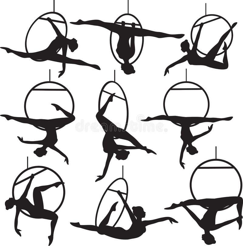 Flyg- beslagakrobat vektor illustrationer