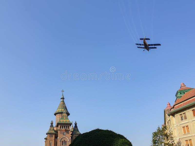 Flyg- bespruta i Timisoara royaltyfria bilder