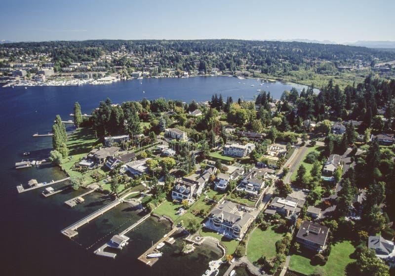 Flyg- bild av Bellevue område i Seattle, Washington arkivbilder