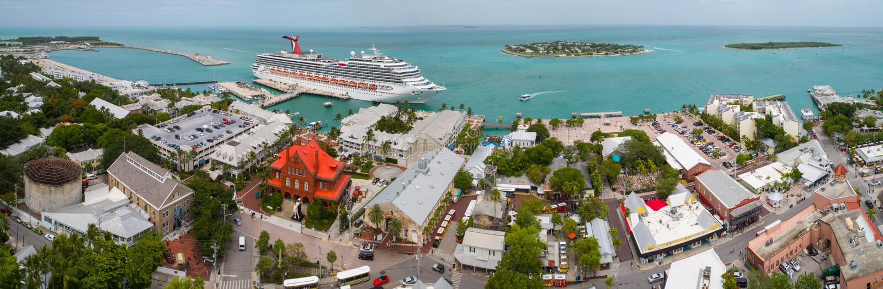 Flyg- bild av Mallory Square Key West FL arkivfoto