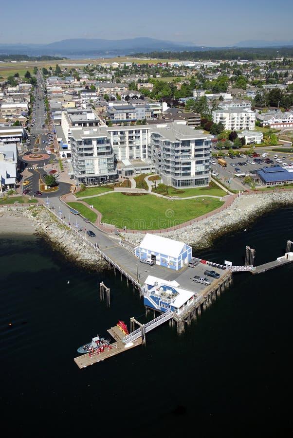 Flyg- bild av Sidney, Vancouver ö, F. KR., Kanada arkivbild