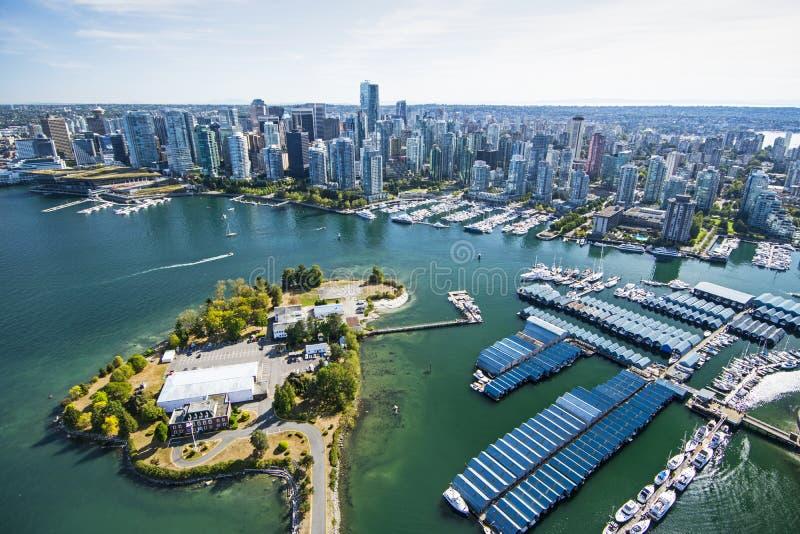 Flyg- bild av Vancouver, F. KR. royaltyfri fotografi