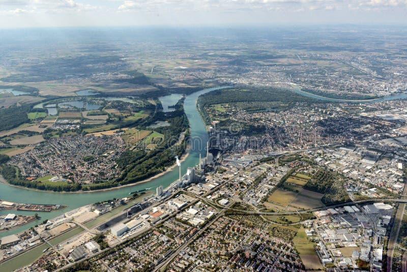 Flyg- bild Mannheim, Tyskland royaltyfria bilder