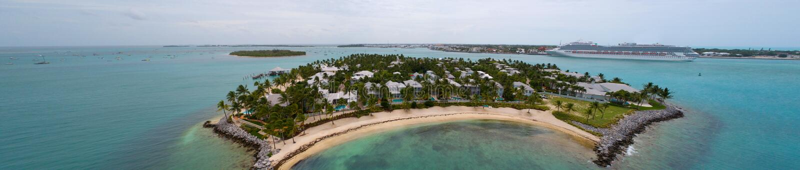 Flyg- bildsolnedgångö Key West arkivbilder