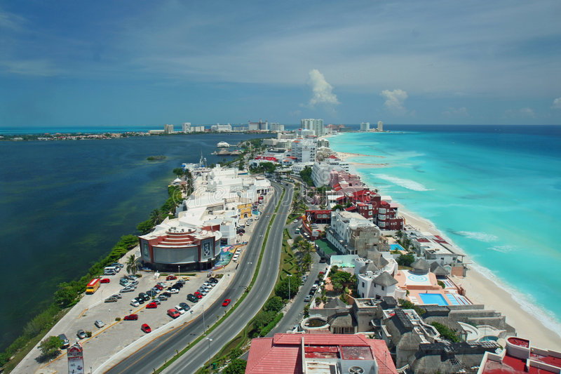 flyg- cancun sikt royaltyfri bild