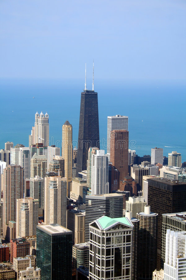 flyg- chicago horisontsikt royaltyfri bild