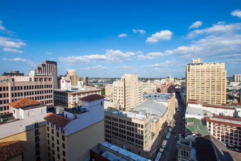 Flyg- Cityscape av i stadens centrum San Antonio, Texas Facing Towards E arkivbilder