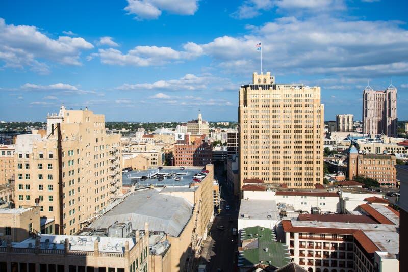 Flyg- Cityscape av i stadens centrum San Antonio, Texas Facing Towards E arkivfoto