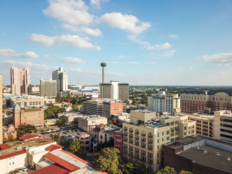 Flyg- Cityscape av i stadens centrum San Antonio, Texas Facing Towards E arkivfoton