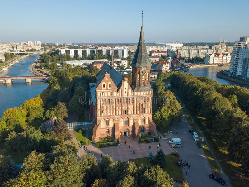 Flyg- cityscape av Kant Island i Kaliningrad, Ryssland royaltyfri fotografi
