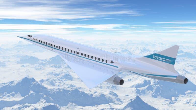 Flyg för bangflygbolagflygplan i himlen illustration 3d royaltyfri illustrationer