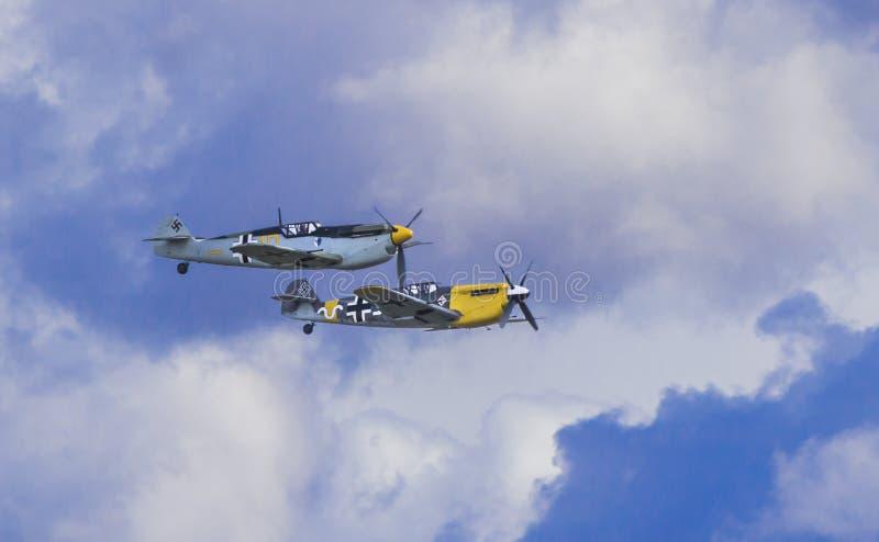 Flyg för bildande Me109 royaltyfri bild