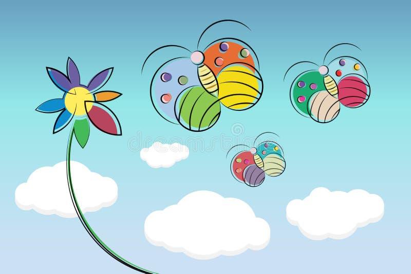 Flyg för fjäril för vektorillustration färgrikt med blomman på bakgrund för blå himmel arkivfoto