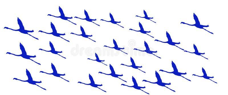 Flyg för flamingo för titelradbakgrundsfåglar större stock illustrationer