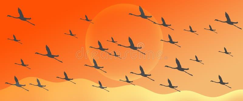 Flyg för kontur för flamingogruppflock på gul orange lutningtitelradbakgrund vektor illustrationer