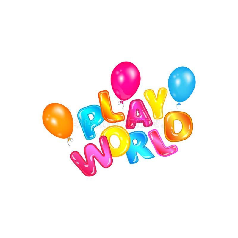 Flyg för lekvärldsetikett med färgrika heliumballonger, rolig modig zonlogo för barn med tecknad filmbokstäver royaltyfri illustrationer