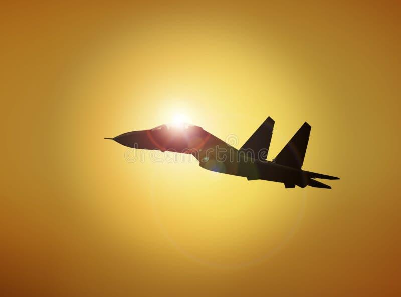 Flyg för militärt flygplan på solnedgången vektor illustrationer