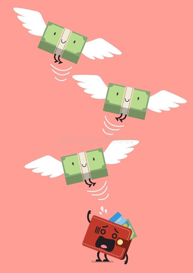Flyg för pengarräkning ut ur plånboktecken vektor illustrationer
