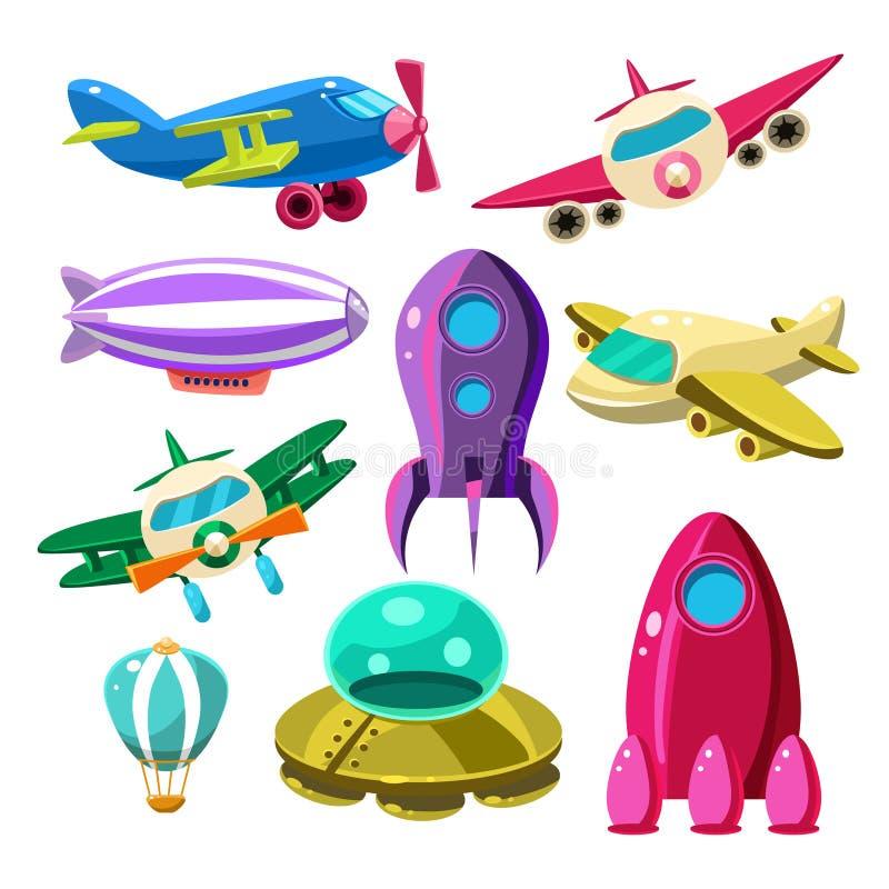 Flyg flygplan, rymdfärjor, uppsättning för ballonger för varm luft stock illustrationer