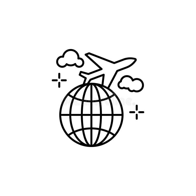 Flyg jord, plan symbol Beståndsdel av flygplatslinjen färgsymbol royaltyfri illustrationer