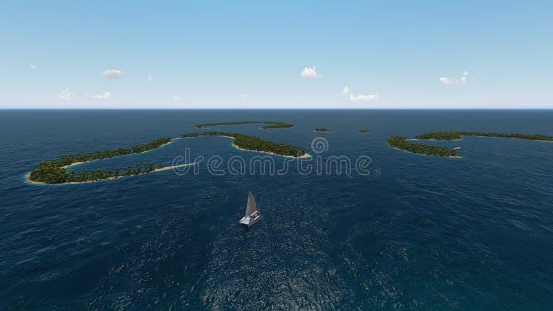 Flyg- kust- sikt av undertropiska öar i havet royaltyfri illustrationer