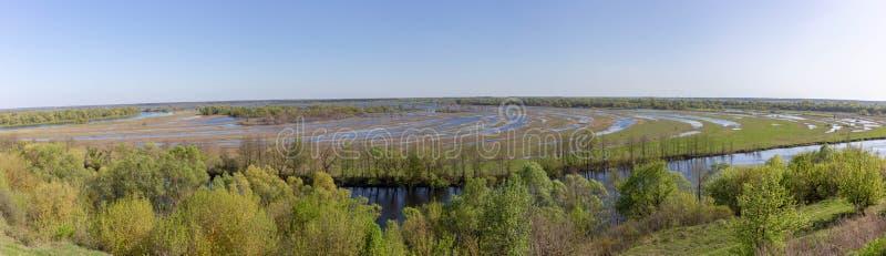 Flyg- landskappanoramasikt på den Desna floden med översvämmade ängar och fält Sikt från den höga banken på den årliga våren arkivbild