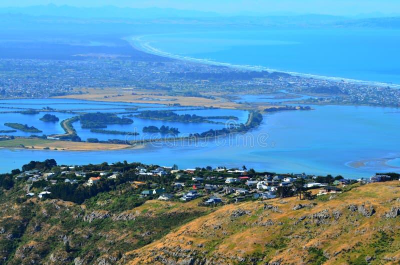 Flyg- landskapsikt av den Christchurch Canterbury slättar och pegaen royaltyfri foto