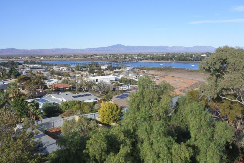 Flyg- landskapsikt av port Augusta South Australia arkivbild