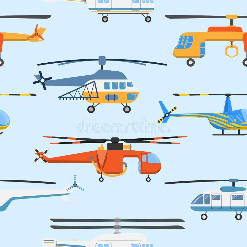Flyg- medel för helikopterflygtransportpropeller som flyger för helikopterflygplan för modernt flyg den sömlösa militära borgerli stock illustrationer