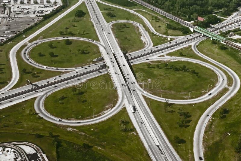 flyg- motorwaysikt royaltyfri fotografi