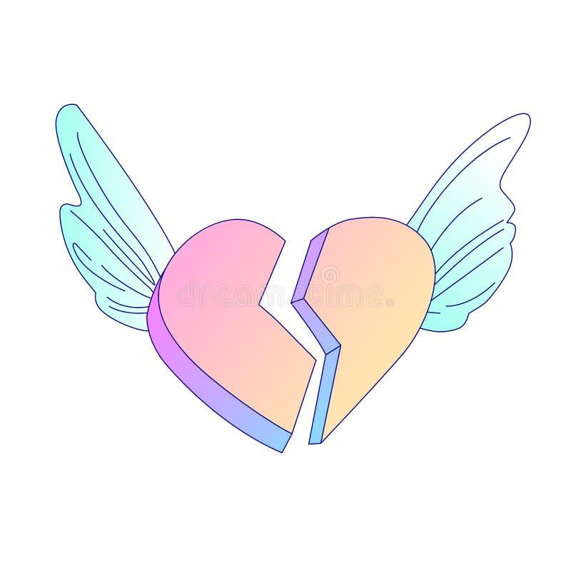 Flyg på symbol för tecknad film för vektor för bruten hjärta för ängelvingar hj?rtesorg för tecknad filmvektor för bruten hjärta  royaltyfri illustrationer