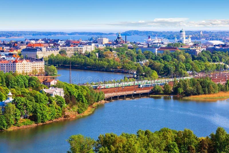 Flyg- panorama av Helsingfors, Finland royaltyfri fotografi
