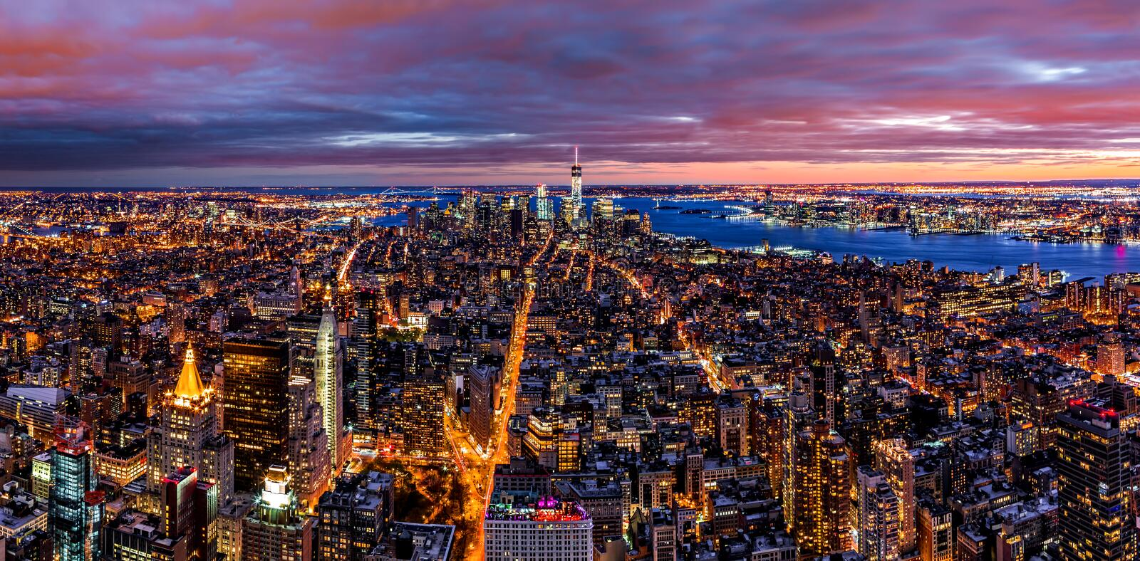 Flyg- panorama av New York arkivfoto