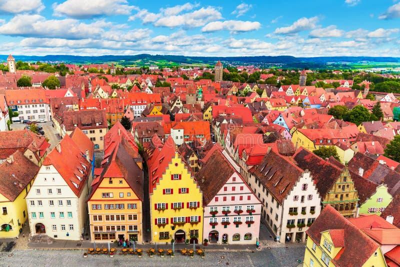 Flyg- panorama av Rothenburg obder Tauber, Tyskland arkivfoton