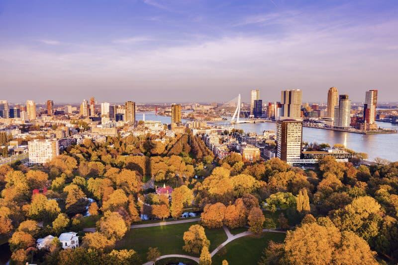 Flyg- panorama av Rotterdam royaltyfria foton
