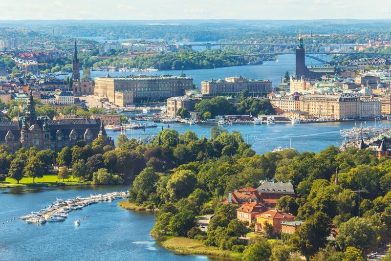 Flyg- panorama av Stockholm, Sverige royaltyfri foto