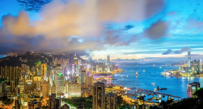Flyg- panorama Hong Kong arkivbilder