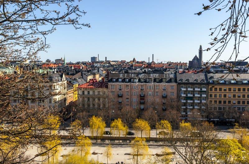 flyg- panorama stockholm sweden arkivbilder