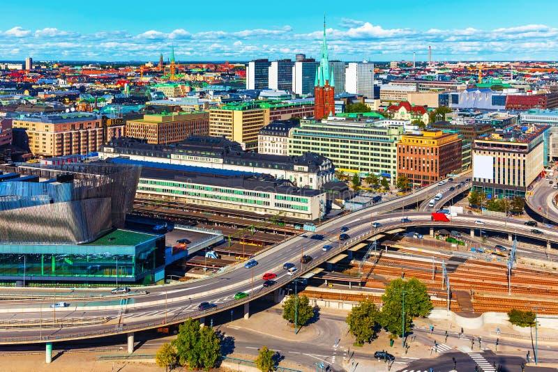 flyg- panorama stockholm sweden arkivfoton