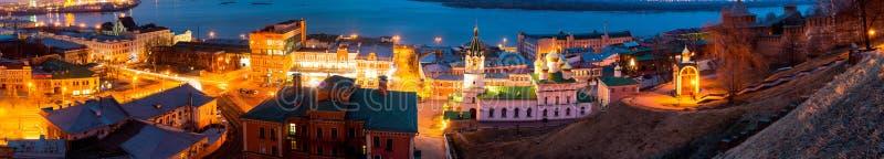 Flyg- panoramautsikt av Nizhny Novgorod, Ryssland royaltyfria foton
