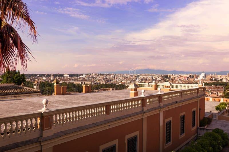 Flyg- panoramautsikt av Rome arkivbild