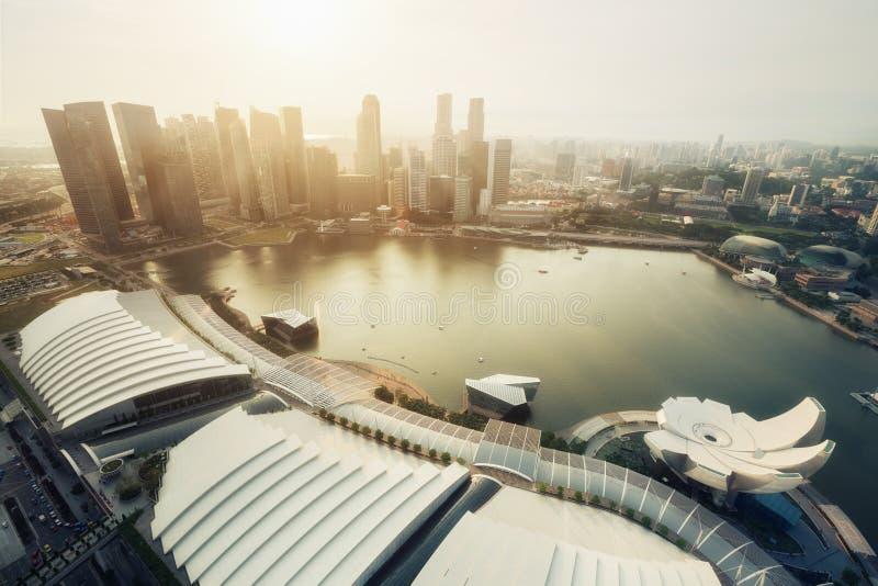 Flyg- panoramautsikt av Singapore royaltyfria foton