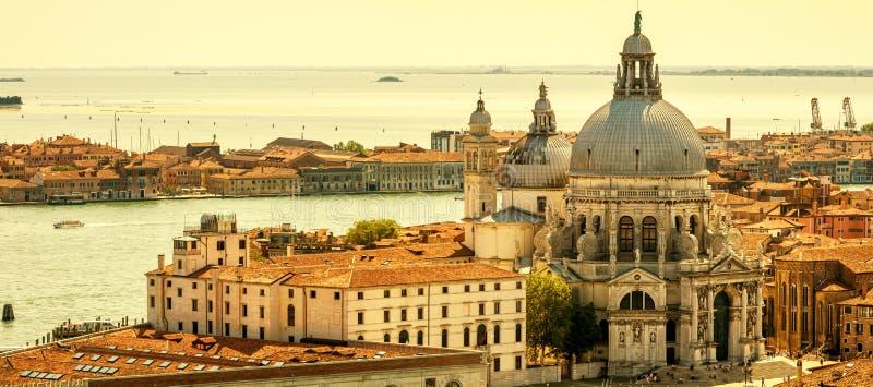 Flyg- panoramautsikt av Venedig, Italien royaltyfri bild