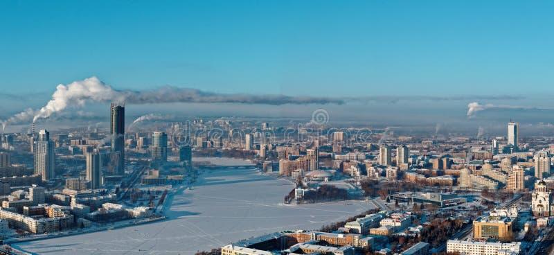 Flyg- panoramautsikt av Yekaterinburg, Ryssland royaltyfria foton