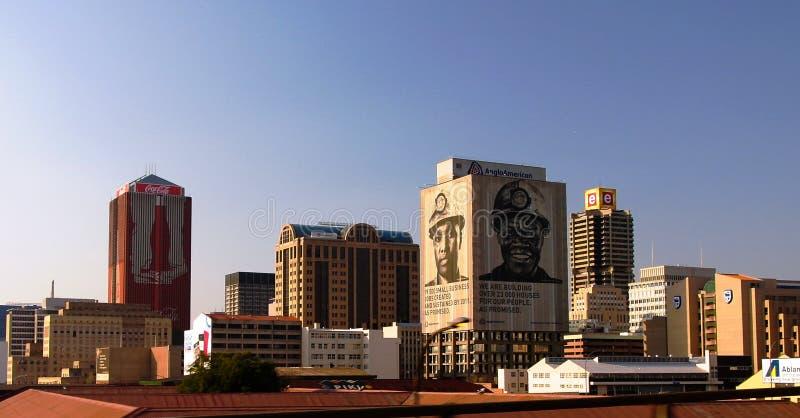 Flyg- panoramautsikt till i stadens centrum Johannesburg, Sydafrika royaltyfria bilder