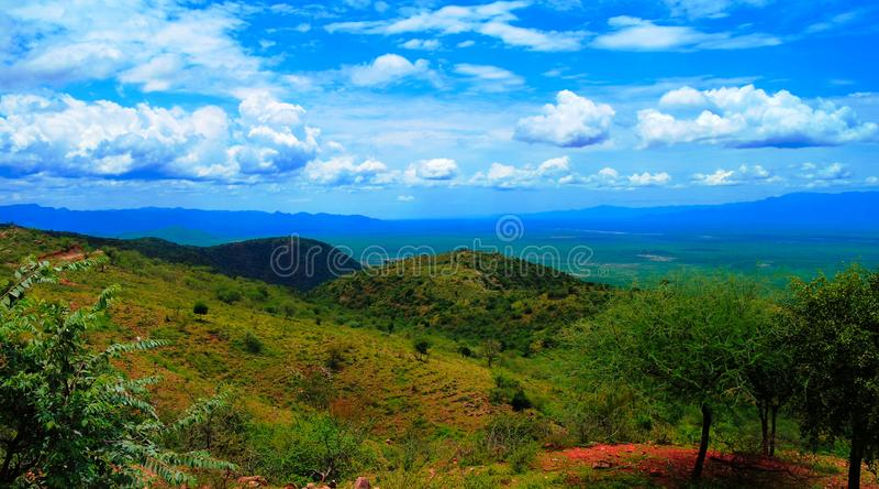 Flyg- panoramautsikt till Stephanie Wildlife Sanctuary och weitodalen, karat Konso, Etiopien royaltyfri bild