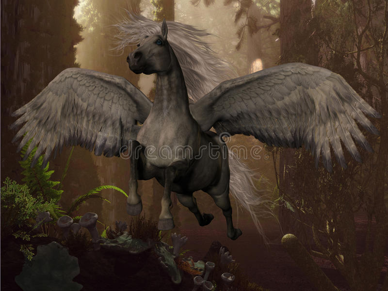 Flyg Pegasus royaltyfri illustrationer