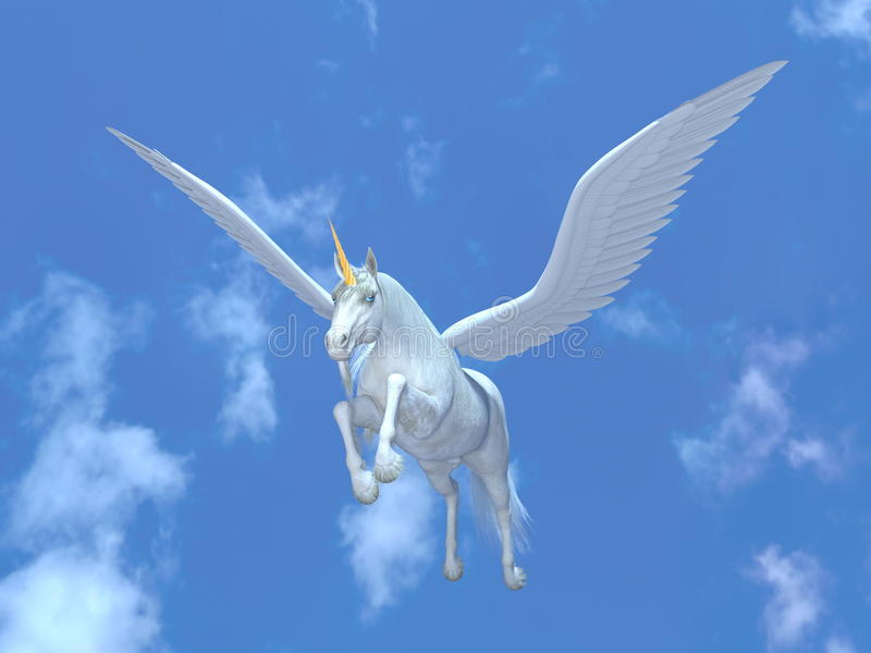 flyg pegasus stock illustrationer
