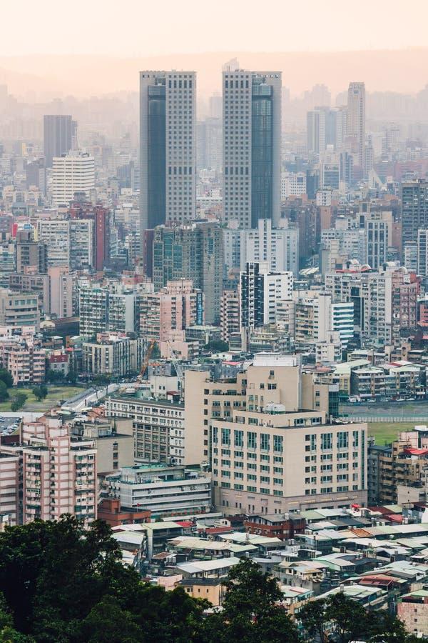 Flyg- sikt över i stadens centrum Taipei med lager av berget i bakgrund i skymningen från det Xiangshan elefantberget i aftonen arkivbild